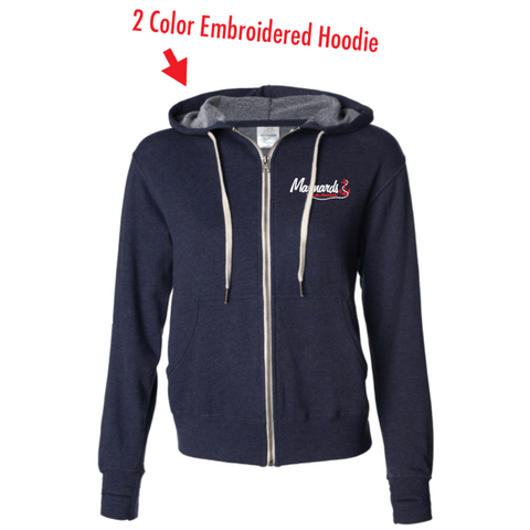 Maynards Unisex (French Terry Heathered Hooded Full-Zip Sweatshirt) Navy