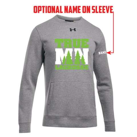 True MN Lacrosse Men's Cut Under Armour (Hustle Fleece Crew) Gray