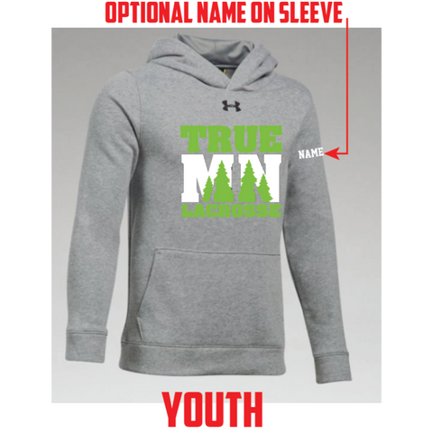 True MN Girls Lacrosse Youth UA (Hustle Fleece Hoody) Gray