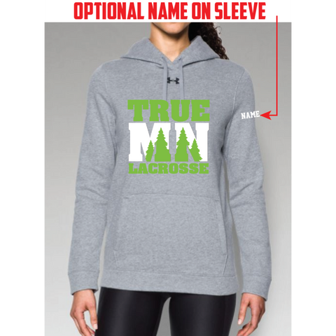 True MN Lacrosse Women's Under Armour (Hustle Fleece Hoody) Gray