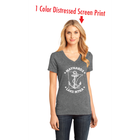 Maynards (Ladies Perfect Weight V-Neck Tee) Heathered Nickel