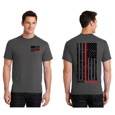Long Lake Fire Men's Port & Company (Core Blend Tee) Charcoal