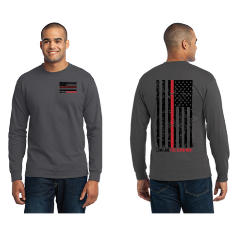 Long Lake Fire Men's Port & Company (Core Blend LS Tee) Charcoal