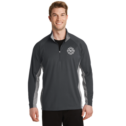 Long Lake Fire Men's Sport-Tek (Sport-Wick® Stretch Contrast 1/2-Zip Pullover) Gray