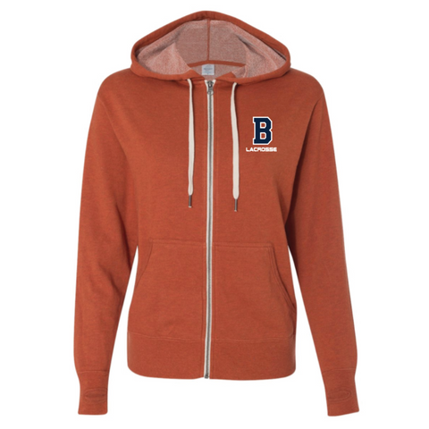 Bridgeland Lacrosse Women's Independent Trading Co. (French Terry Heathered Hooded Full-Zip Sweatshirt) Burnt Orange