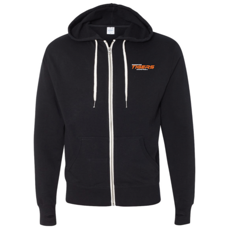 Farmington Basketball Unisex Independent Trading Co. (French Terry Heathered Hooded Full-Zip Sweatshirt) Black