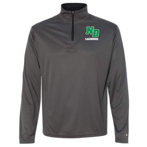 ND Lacrosse Adult Badger (B-Core Quarter-Zip Pullover) Graphite/ Black