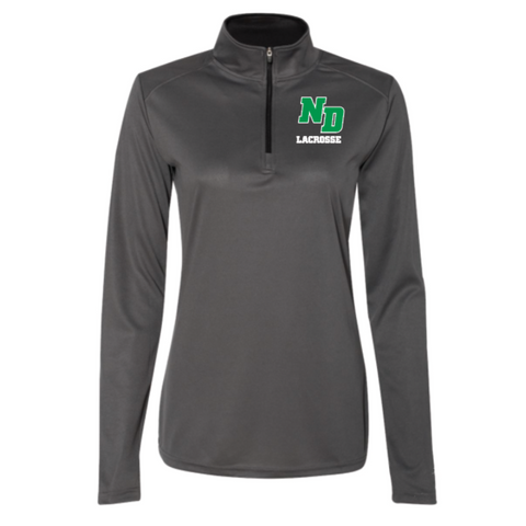 ND Lacrosse Women's Badger (B-Core Quarter-Zip Pullover) Graphite/ Black