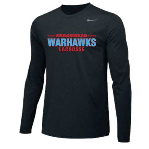 Arrowhead Lacrosse Men's Nike (TEAM LEGEND LS CREW) Black