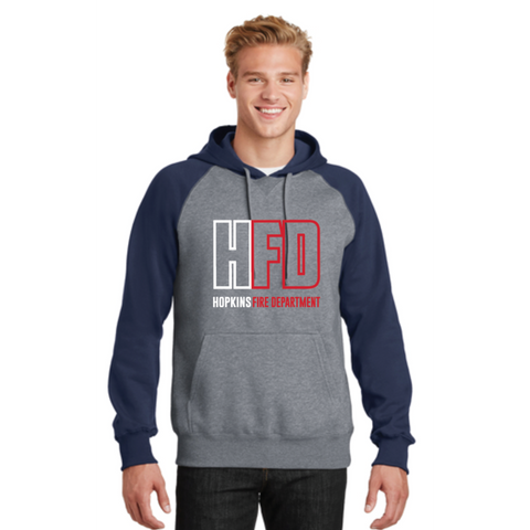 Hopkins Fire Sport-Tek (Raglan Colorblock Pullover Hooded Sweatshirt) NavyGray