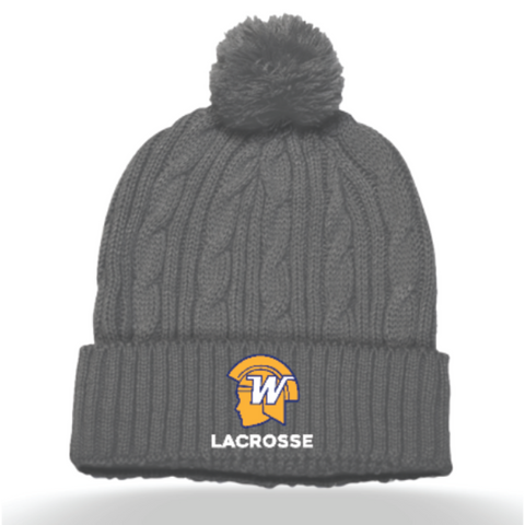 Wayzata Lacrosse Pacific Headwear (Cable Knit Pom-Pom Beanie) Gray