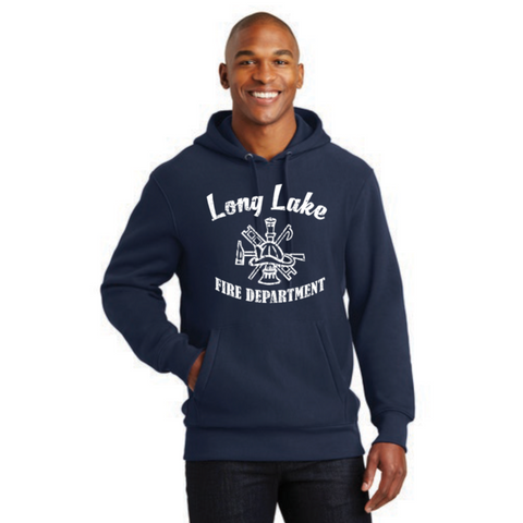 Long Lake Fire Men's Sport-Tek (Super Heavyweight Pullover Hooded Sweatshirt) Navy
