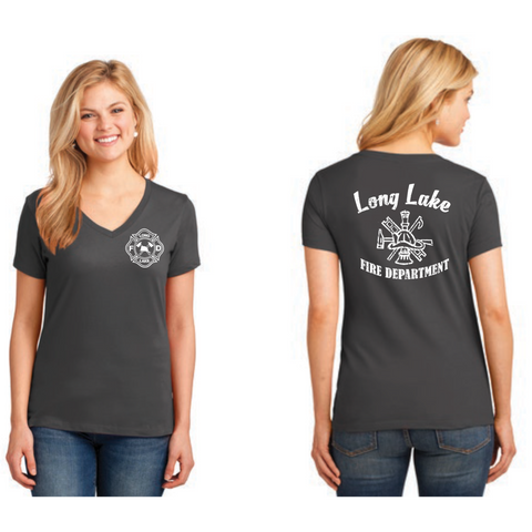 Long Lake Fire Crest Women's Port & Company (Core Blend V neck Tee) Charcoal