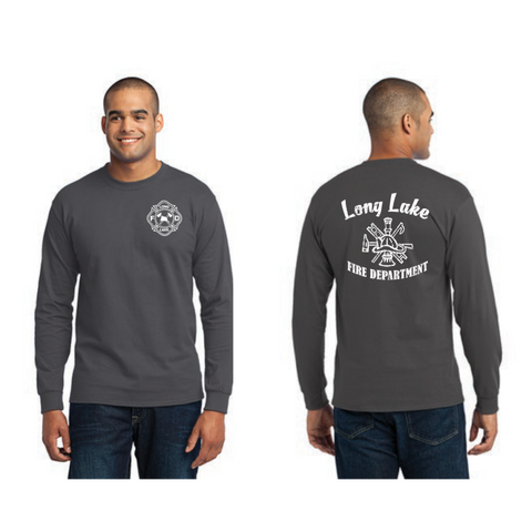 Long lake Fire Crest Men's Port & Company (Core Blend LS Tee) Charcoal