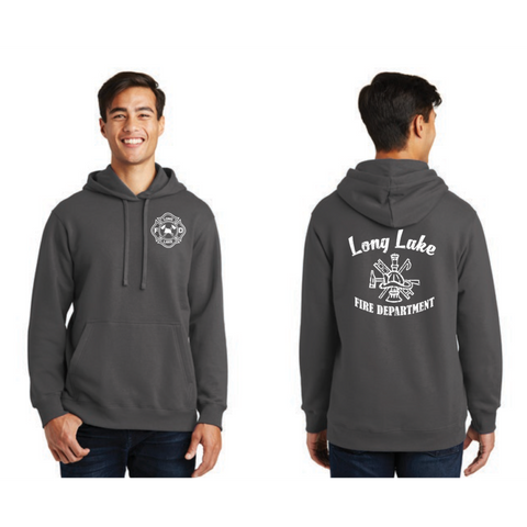 Long Lake Fire Crest Men's Port & Company (Fleece Pullover Hooded Sweatshirt) Charcoal