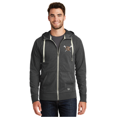 SLP Lacrosse Men's New Era (Sueded Cotton Full-Zip Hoodie) Black Heather