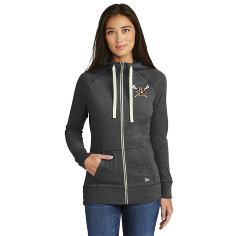 SLP Lacrosse Women's New Era (Sueded Cotton Full-Zip Hoodie) Heather Black
