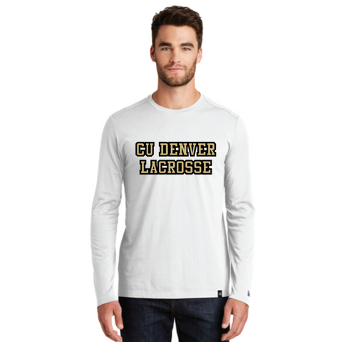 Denver Lacrosse Men's New Era (Heritage Blend Long Sleeve Crew Tee) White