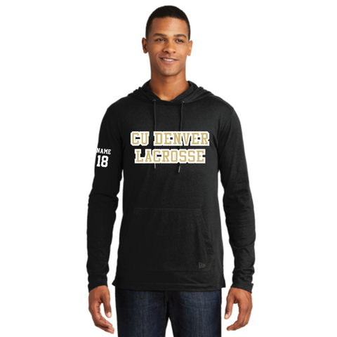 Denver Lacrosse Men's New Era (Tri-Blend Performance Pullover Hoodie Tee) Black