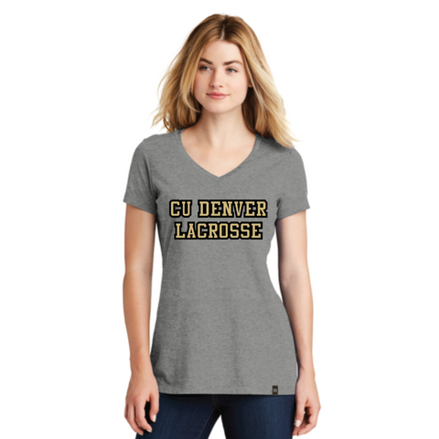 Denver Lacrosse Women's New Era (Heritage Blend V-Neck Tee) Shadow Grey Heather