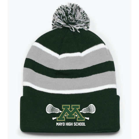 Mayo Lacrosse Pacific Headwear (Loose-Fit Pom-Pom Knit) Gray/Forest Green/White