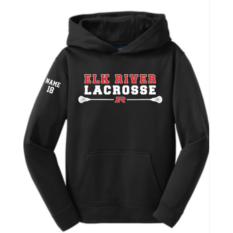 Elk River Lacrosse Youth Sport-Tek (Pullover Hooded Sweatshirt) - Black