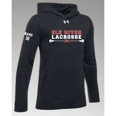 Elk River Lacrosse Youth Under Armour (Hustle Fleece Hoody) Black