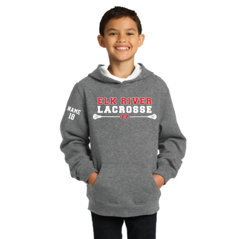 Elk River Lacrosse Youth Sport-Tek (Pullover Hooded Sweatshirt) Gray
