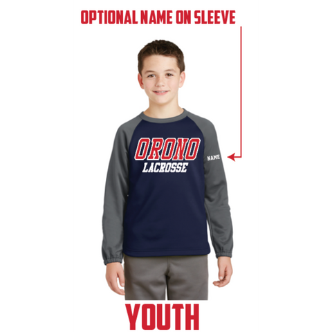 Orono Lacrosse Youth Sport-Tek (Sport-Wick Raglan Colorblock Fleece Crewneck) Navy