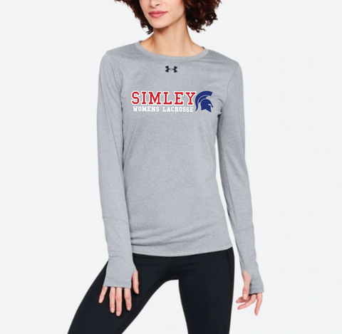 SIMLEY WOMENS LACROSSE LONG SLEEVE UNDER ARMOUR LOCKER T-GREY