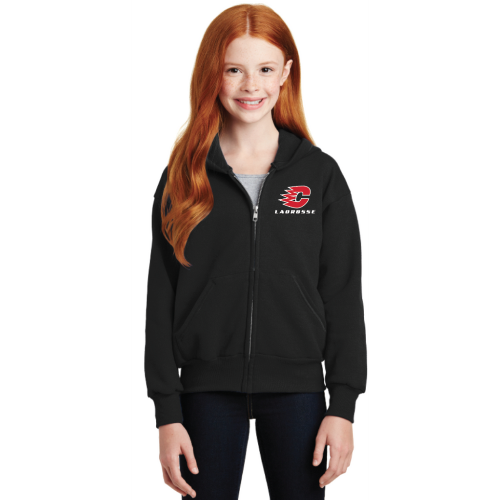 Centennial Lacrosse Youth Hanes (Full-Zip Hooded Sweatshirt) Black