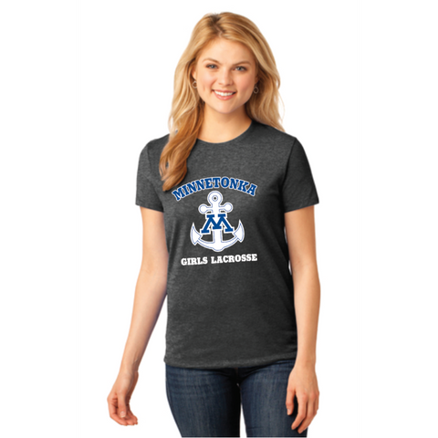 Minnetonka Lacrosse Woman's Port & Company (Long Sleeve Core Cotton Tee) Dark Heather Grey