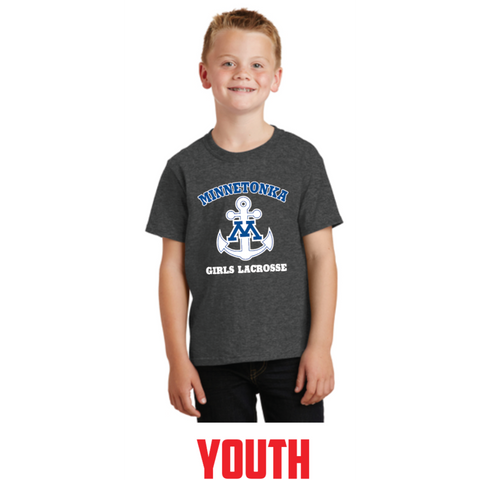 Minnetonka Lacrosse Youth Port & Company (Core Cotton Tee) Dark Heather Grey
