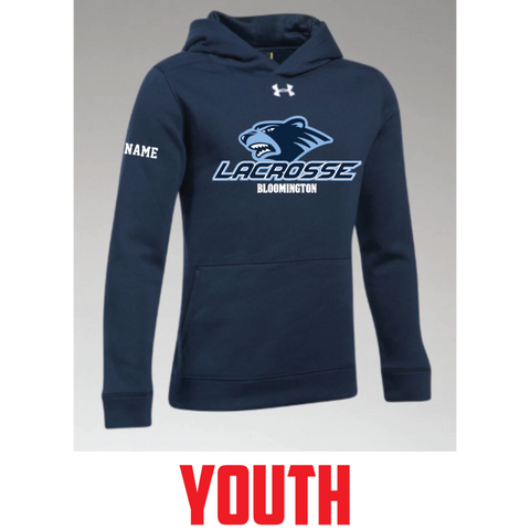 Bloomington Lacrosse Youth Under Armour (Hustle Fleece Hoody) Navy