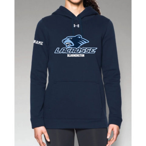 Bloomington Lacrosse Women's Under Armour (Hustle Fleece Hoody) Navy