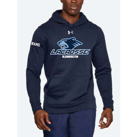 Bloomington Lacrosse Men's Under Armour (Hustle Fleece Hoody) Navy