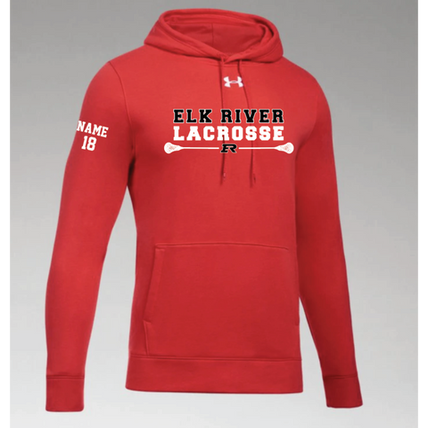 Elk River Lacrosse Men's Under Armour (Hustle Fleece Hoody) - Red
