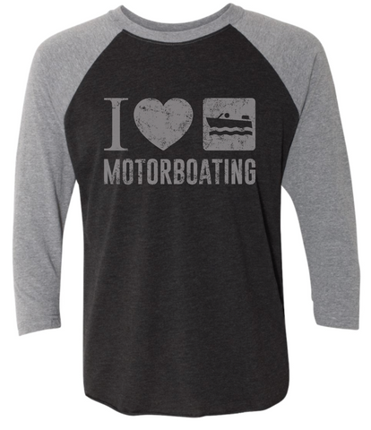 I LOVE MOTORBOATING Unisex Tri-Blend Three-Quarter Sleeve Baseball Raglan Tee