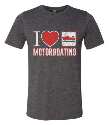 I LOVE MOTOR BOATING Poly/Cotton Crew T-SHIRT