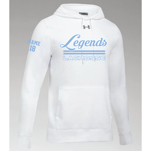 Legends Lacrosse Men's Under Armour (Hustle Fleece Hoody) White