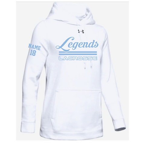 Legends Lacrosse Women's Under Armour (Hustle Fleece Hoody) White