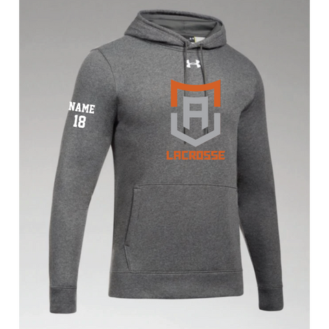 Alpha Lacrosse Men's Under Armour (Hustle Fleece Hoody) Gray