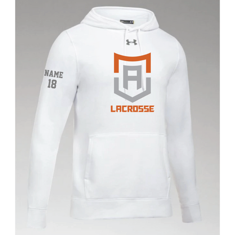 Alpha Lacrosse Men's Under Armour (Hustle Fleece Hoody) White