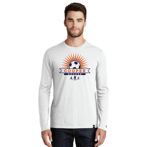 Cooper Soccer Men's New Era (Heritage Blend Long Sleeve Crew Tee) White