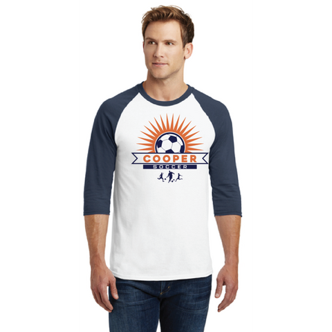 Cooper Soccer Adult Gildan (Heavy Cotton™ 3/4-Sleeve Raglan T-Shirt) Navy White