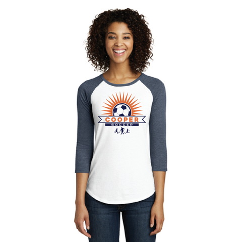 Cooper Soccer Women's District  (Fitted Very Important Tee ® 3/4-Sleeve Raglan) Navy White