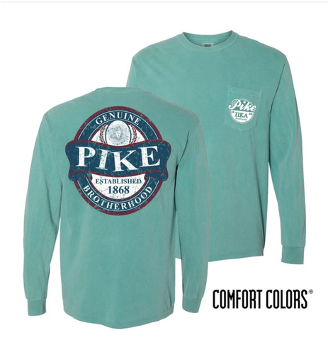 Pike Comfort Colors Long Sleeve Pocket Tee - Faded Green