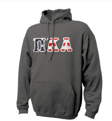 Pike Russel Athletics Stars & Stripes Sewn On Letter Hoodie - Charcoal