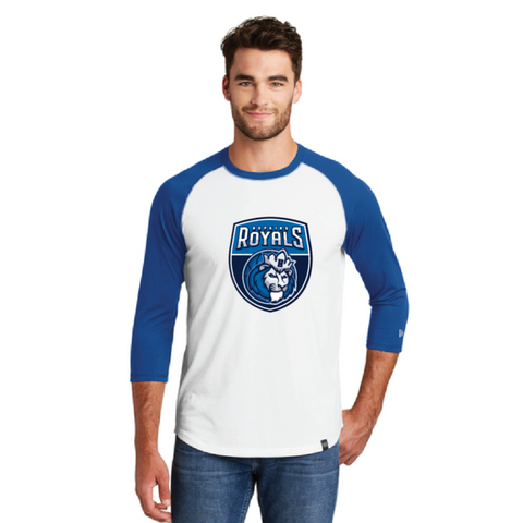 Hopkins Basketball Men's New Era (Heritage Blend 3/4 Raglan) White/Royal