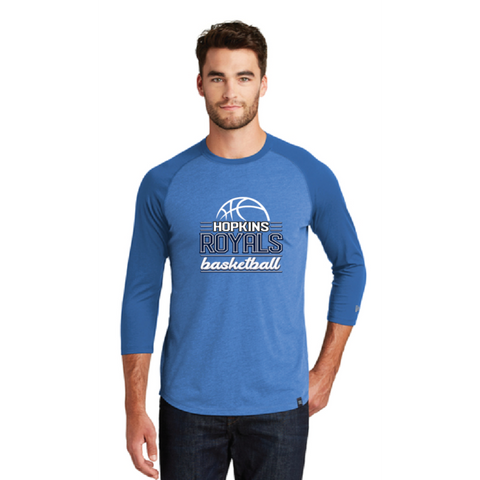Hopkins Basketball Men's New Era (Heritage Blend 3/4 Raglan) Royal